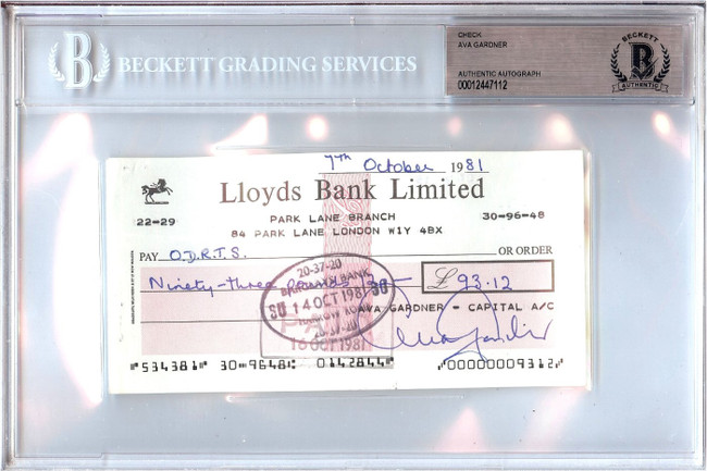 Ava Garner Signed Autographed Personal Check Actress 1981 $93.12 Beckett BGS