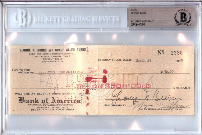 George Burns Signed Autographed Personal Check Actor #2220 1943 Beckett BGS