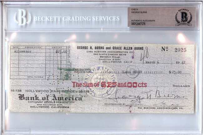 George Burns Signed Autographed Personal Check Actor #2025 1942 Beckett BGS