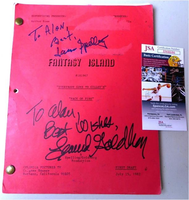 Aaron Spelling Leonard Goldberg Autographed Script Fantasy Island JSA JJ44686