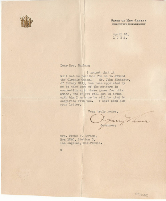 A. Harry Moore Autographed Personal Letter New Jersey Governor 1932 JSA II59933