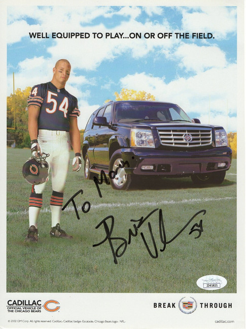 Brian Urlacher Autographed 8X11 Photo Chicago Bears Cadillac Promo JSA JJ41621