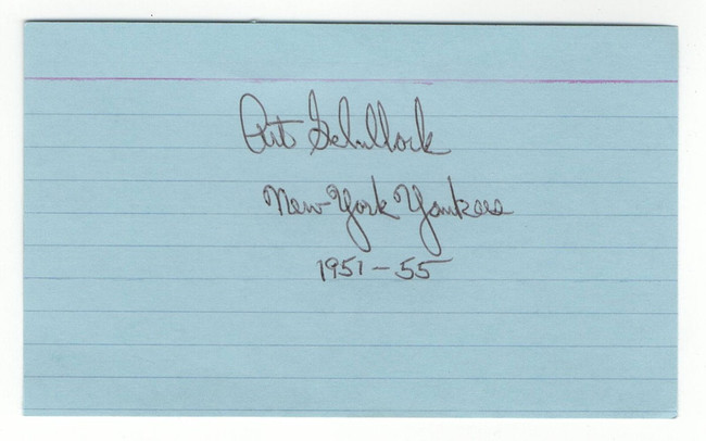Art Schallock Signed Autographed Index Card New York Yankees JSA JJ44767