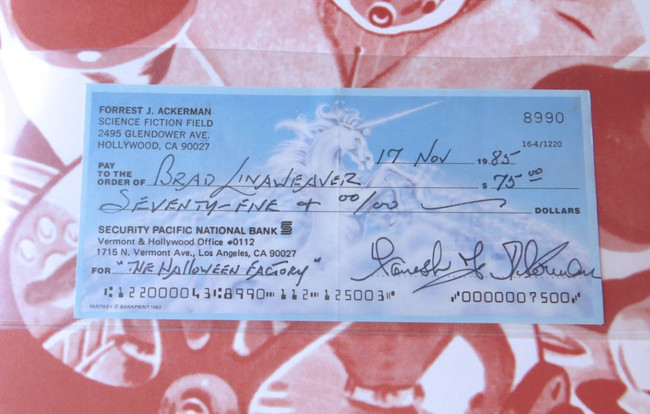 Forrest Ackerman Autographed Bank Check w/Worlds of Tomorrow Book BAS Y19146