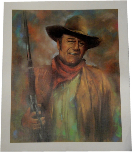 John Wayne 19x23 Unframed Canvas Print The Duke Cowboy Holding Shot Gun