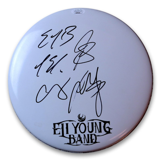 "Eli Young Band Signed Autographed 10"" Drumhead Signed by All JSA KK78454"