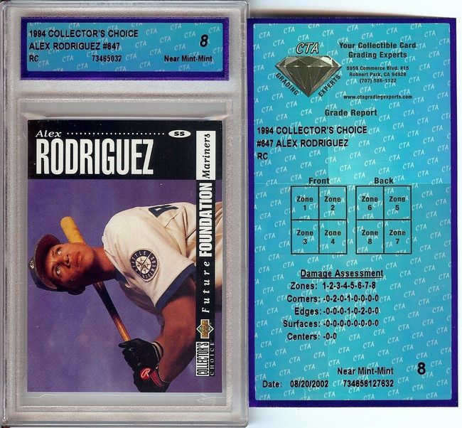 Alex Rodriguez 1994 Collector's Choice RC Rookie Card Graded CTA 8 NM-MT #647