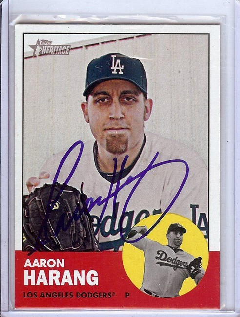 Aaron Harang 2012 Topps Heritage Hand Signed Autograph Dodgers GX31351 #363