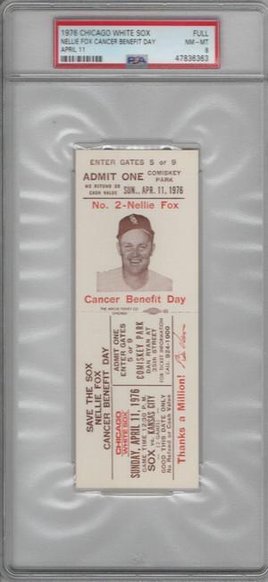 1976 Chicago White Sox Unsigned Ticket Stub April 11th vs. KC PSA 8 Slabbed