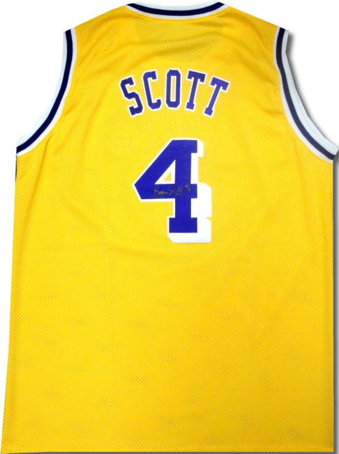Byron Scott Hand Signed Autographed Los Angeles Lakers Jersey Gold Ink
