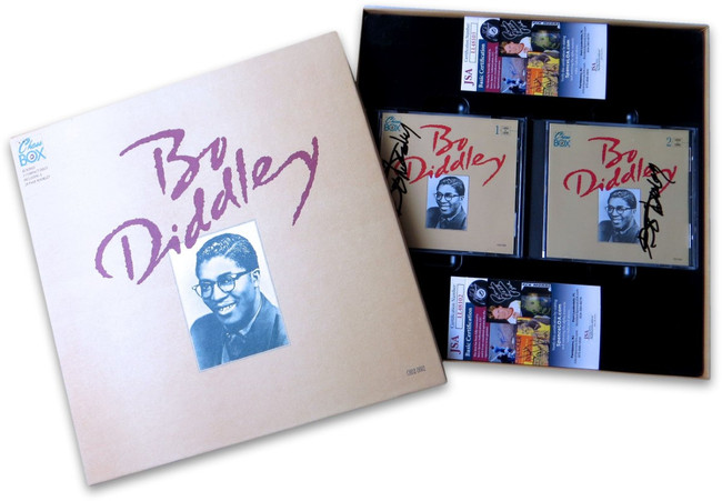 Bo Diddley Signed Autographed Dual CD Covers Box Set The Chess Box JSA COAs