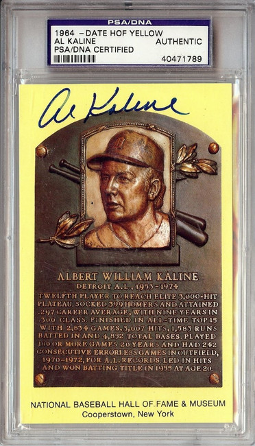 Al Kaline Signed Autographed Hall of Fame Postcard Detroit Tigers PSA/DNA