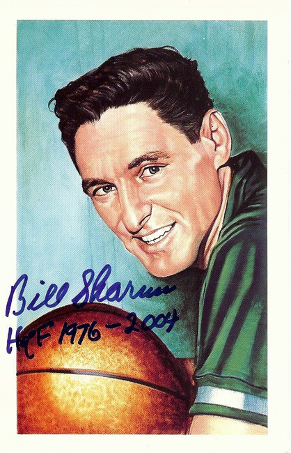 Bill Sharman Signed Autographed Postcard Boston Celtics HOF 1976-2004 w/COA