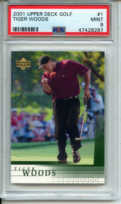 2001 Upper Deck Tiger Woods Rookie RC Card #1 PSA 9 Mint Clean!