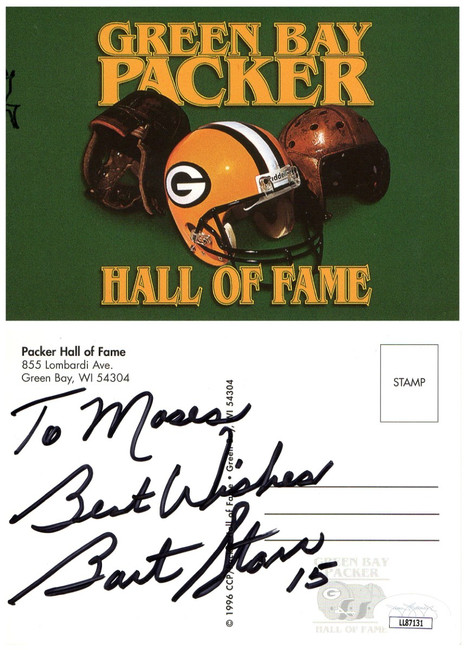 """Bart Starr Signed Autographed Postcard Green Bay Packers """"To Moses"""" JSA LL87131"""