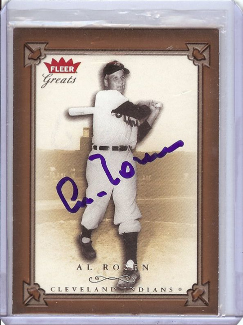 Al Rosen 2004 Fleer Greats Signed Autograph Cleveland Indians #82 GX31499