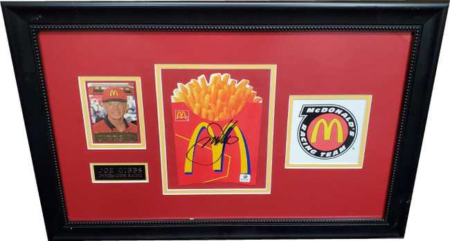 Joe Gibbs Autographed McDonalds French Fries W Photo Custom Framed GA GX22732