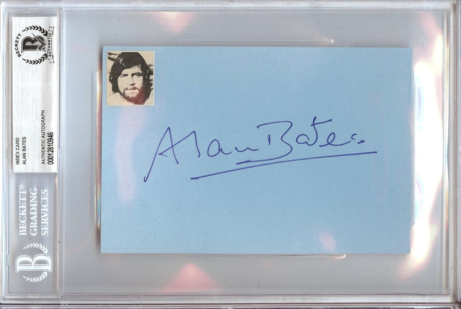 Alan Bates Signed Autographed 4X6 Index Card Hollywood Actor Beckett BGS