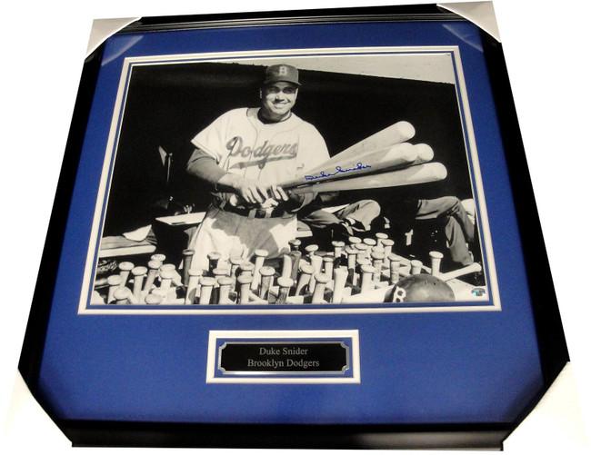 "Duke Snider Hand Signed Autographed 16""x20"" Photo Custom Framed Holding Bats"