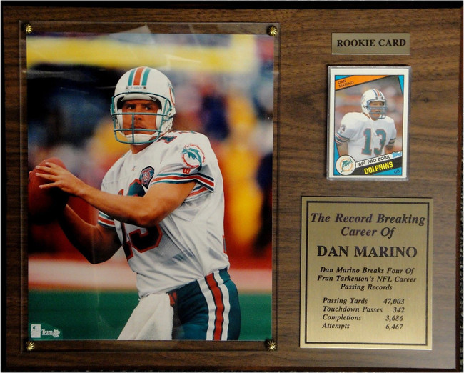 Dan Marino 1984 Topps Rookie Card With 8x10 Photo On Plaque + Collectors Plate