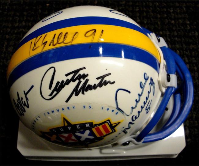 Archie Manning Curtis Martin + Signed Autograph Football Mini Helmet Helmet GA