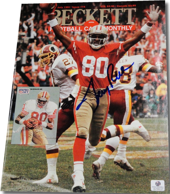 Jerry Rice Autographed Signed Beckett Football Monthly Magazine with COA GAI