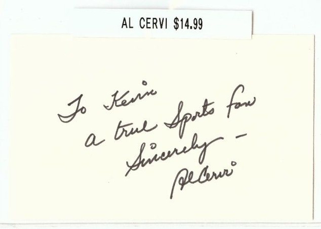 Al Cervi Signed Index Card Auto Autograph Digger B