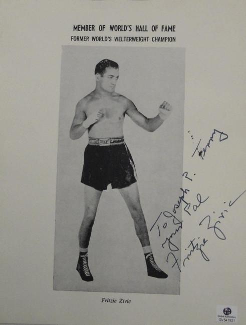 Fritzie Zivic Signed Autographed 8x10 Vintage Boxing Photograph Photo GAI COA