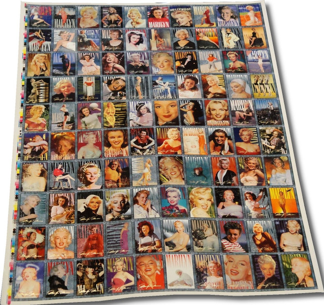 Marilyn Monroe 100 Card Uncut Sheet from 1993 Completely Intact Has Minor Wear