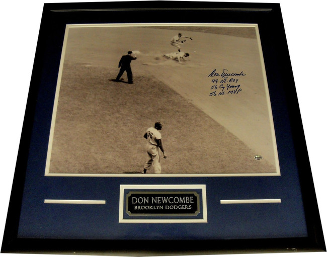 Don Newcombe Hand Signed Autograph 16x20 Photo Custom Framed Multi Stats CY MVP