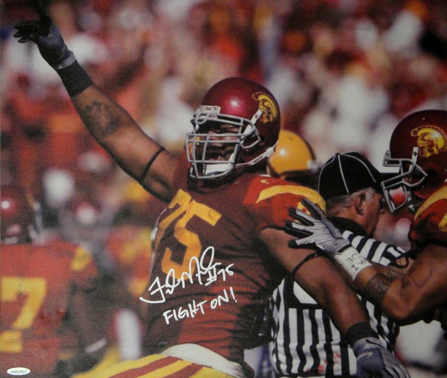 Fili Moala Hand Signed Autographed 17x20 Canvas USC Trojans Fight On! UDA52231