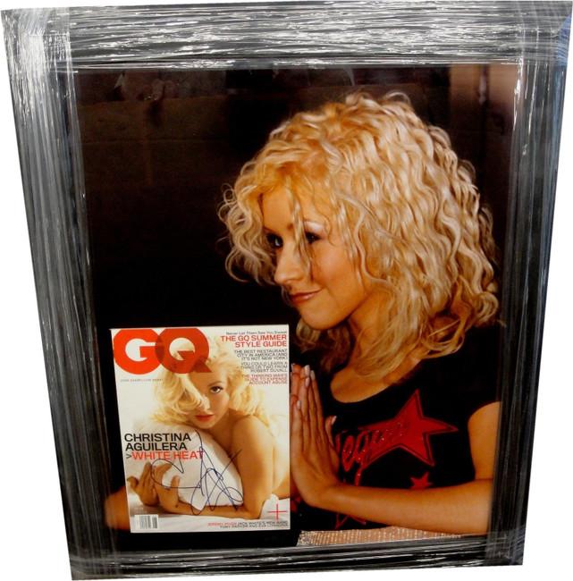 Christina Aguilera Hand Signed Autographed GQ Magazine CUSTOM FRAMED GA 731205
