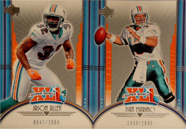 Dan Marino Wes Walker Bob Griese Jason Allen 2007 Upper Deck XLI Super Bowl/2006