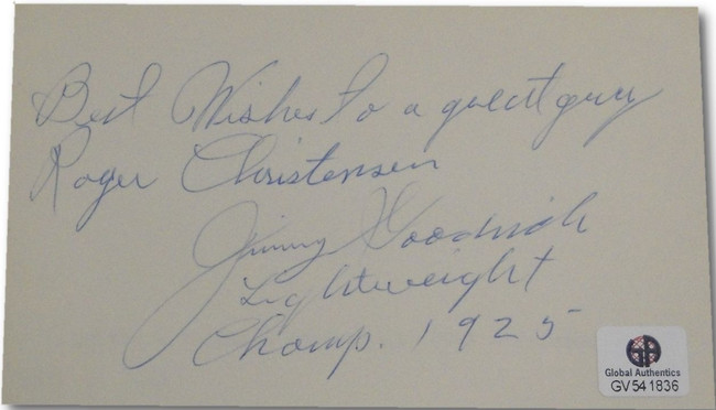Jimmy Goodrich Hand Signed Autographed Signed CUT Professional Boxer GA