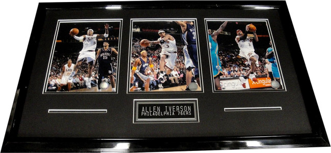 """Allen Iverson UnSigned 8""""x10"""" Photo Custom Framed With Two 8x10's  76ers"""