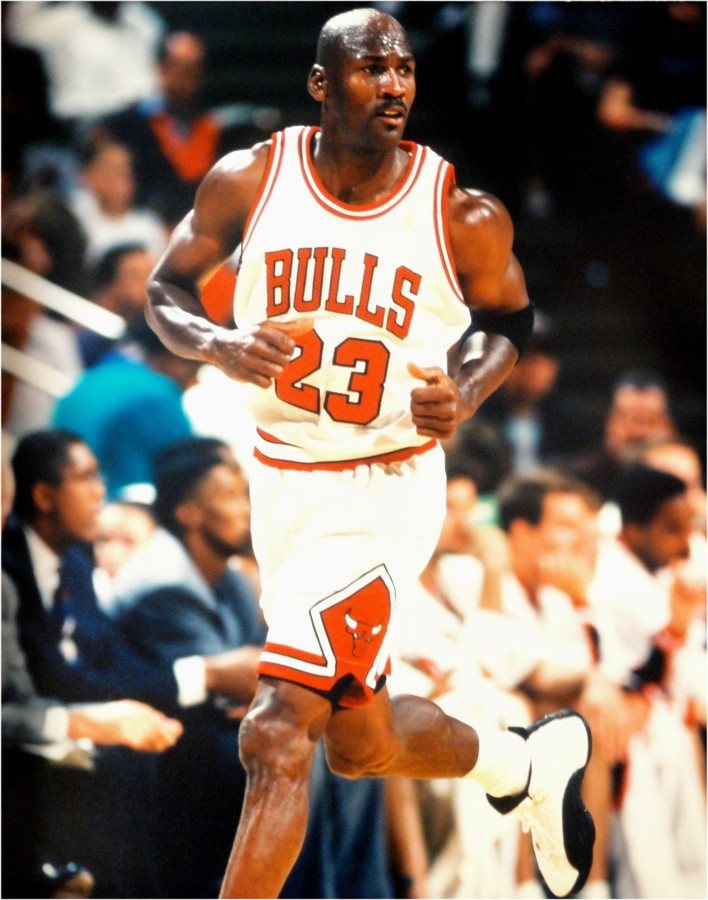 buy online d529a cac42 Michael Jordan Unsigned 16x20 Photo Chicago Bulls Jogging White Jersey