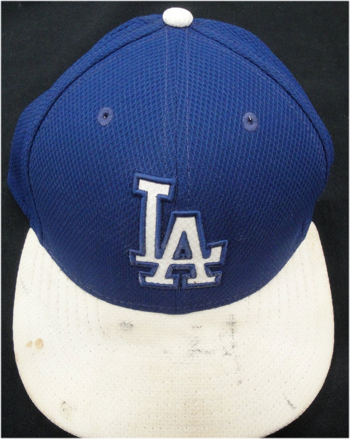 #40 Dodgers Game Used Official MLB Baseball Cap Hat size 7 1/4 shows use Blue