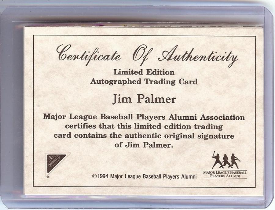 1994 Nabisco All-Star Legends Jim Palmer Autograph w// Authenticity Certificate