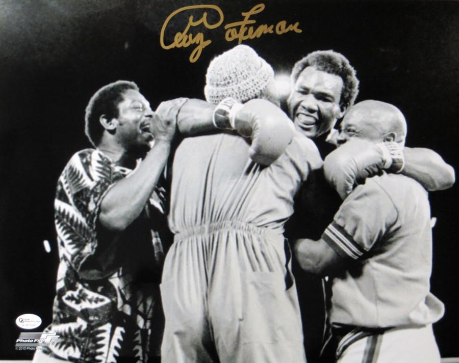 George Foreman Signed Autographed 11X14 Photo Vintage Post Fight Hug OA