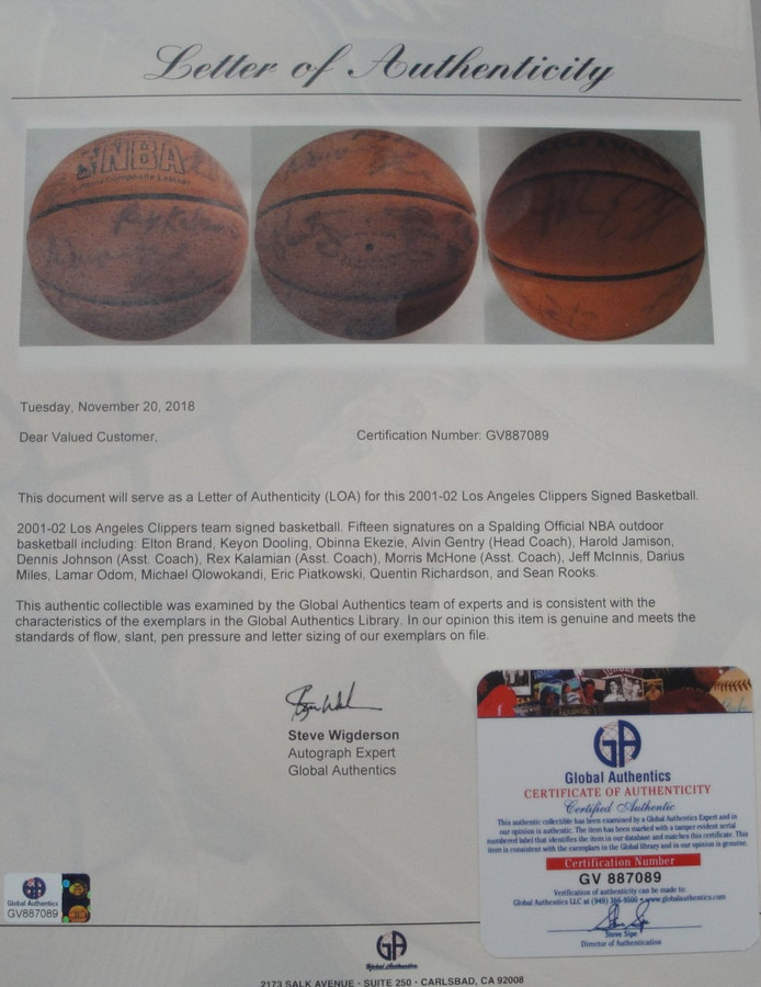 ff24757bb4cc 2001-02 Los Angeles Clippers Team Signed Basketball Lamar Odom Miles ...