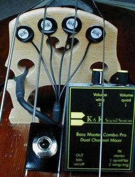 Bass Master Pro Upright Bass Pickup System, transducers and preamp
