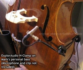 H-Clamp Light Upright Bass and Cello Microphone Mounts, installed on bass