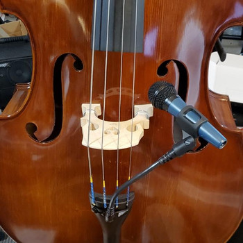 BassOnStage Mk2 Microphone Gooseneck Mount for Upright Bass, installed on bass - front mount