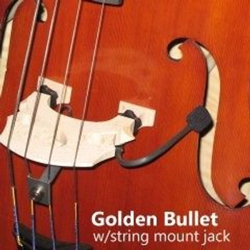 Golden Bullet Microphone for Upright Bass, installed on bass