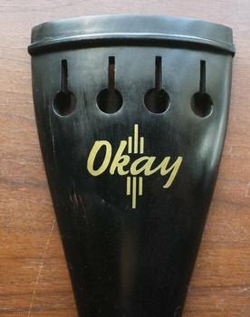 'Okay' Logo Vinyl Sticker Parody Emblem for Bass Tailpiece, on tailpiece