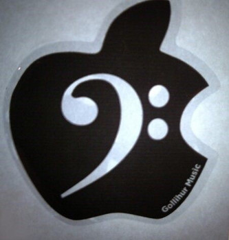 Bass Clef Domed Decal for your Apple Computer Logo