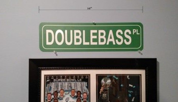 Novelty Decor Street Sign - Doublebass Place - hung on interior wall