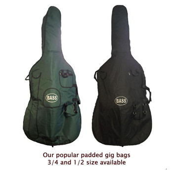 Gollihur Upright Bass Padded Gig Bag, Green and Black models side by side, 3/4 size (1/2 size also available)