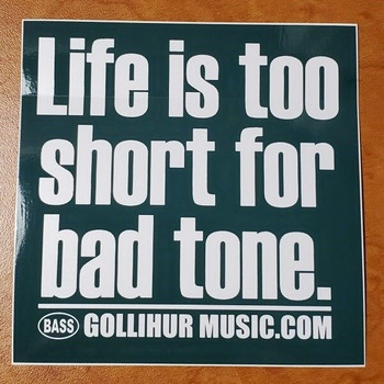 "Vinyl decorative sticker, reading ""Life is too short for bad tone."""