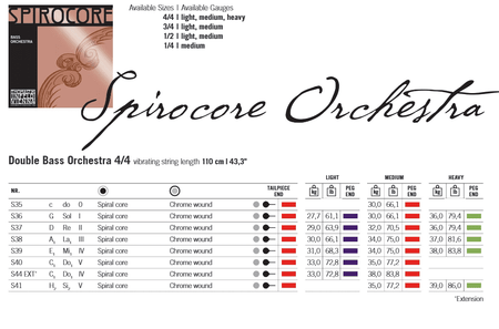 Spirocore Upright Bass Strings, 4/4 specifications
